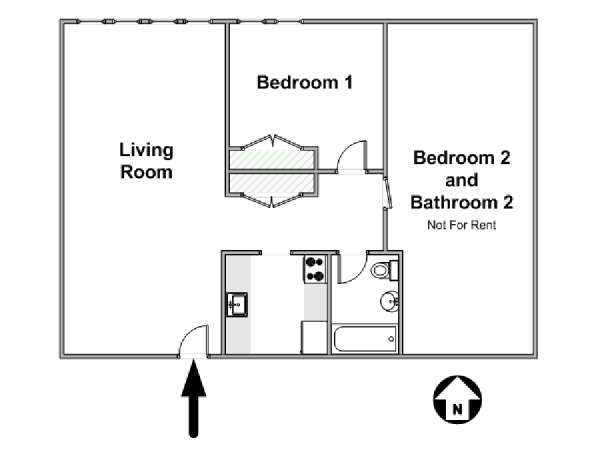 New York 2 Bedroom roommate share apartment - apartment layout  (NY-17250)
