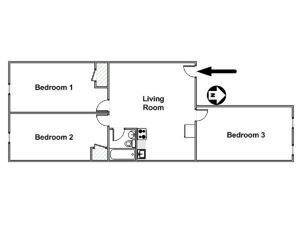 New York 3 Bedroom roommate share apartment - apartment layout  (NY-17252)