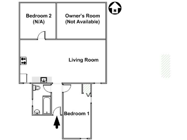 New York 3 Bedroom roommate share apartment - apartment layout  (NY-17263)