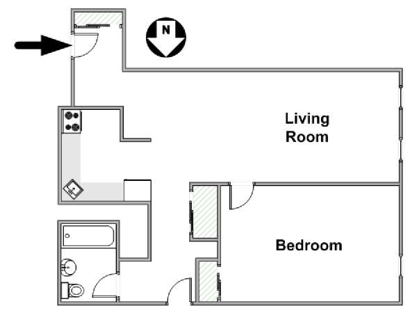 New York 1 Bedroom roommate share apartment - apartment layout  (NY-17285)