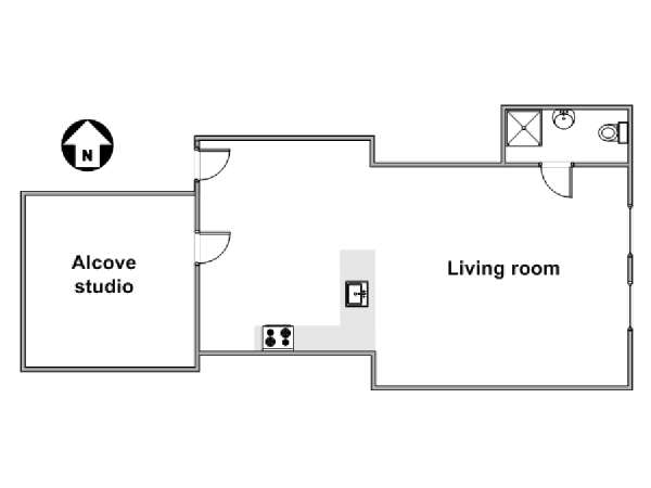 New York Alcove Studio apartment - apartment layout  (NY-17291)