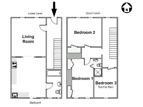 New York 3 Bedroom - Duplex roommate share apartment - apartment layout  (NY-17292)