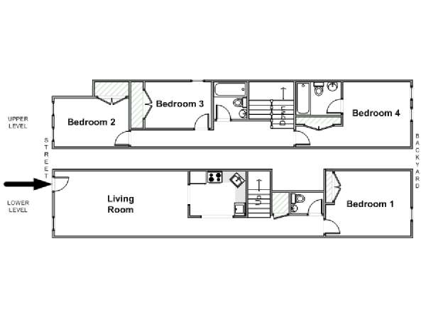 New York 4 Bedroom - Duplex apartment - apartment layout  (NY-17325)
