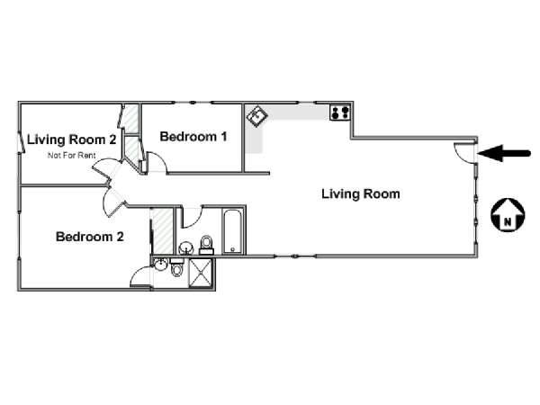 New York T3 appartement colocation - plan schématique  (NY-17353)