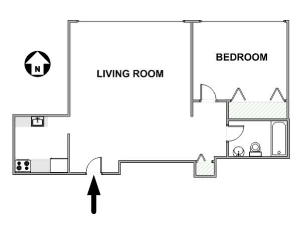 New York 1 Bedroom apartment - apartment layout  (NY-17355)
