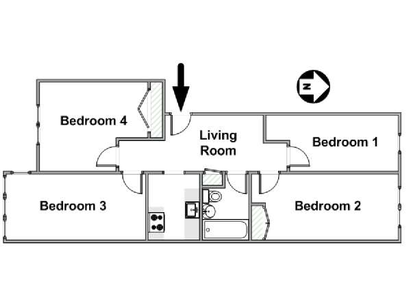 New York 4 Bedroom roommate share apartment - apartment layout  (NY-17357)