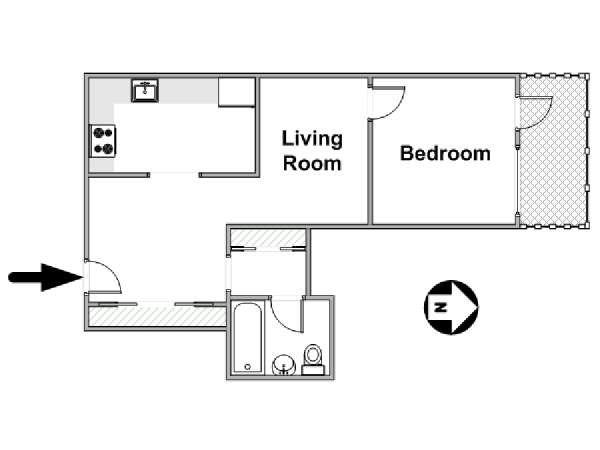 New York 1 Bedroom apartment - apartment layout  (NY-17361)