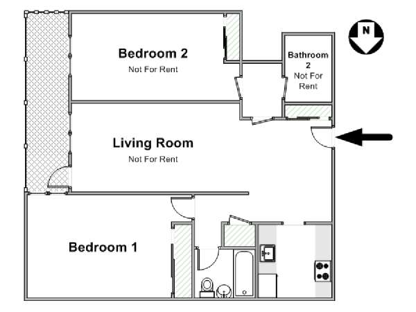 New York 2 Bedroom roommate share apartment - apartment layout  (NY-17368)
