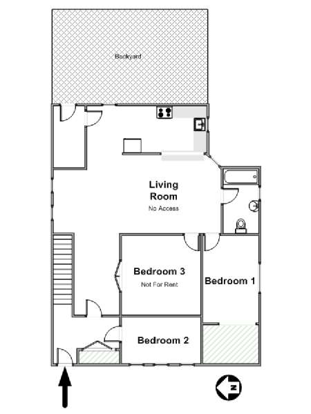 New York 3 Bedroom roommate share apartment - apartment layout  (NY-17378)