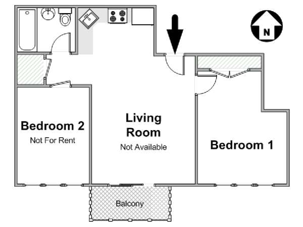 New York 2 Bedroom roommate share apartment - apartment layout  (NY-17389)