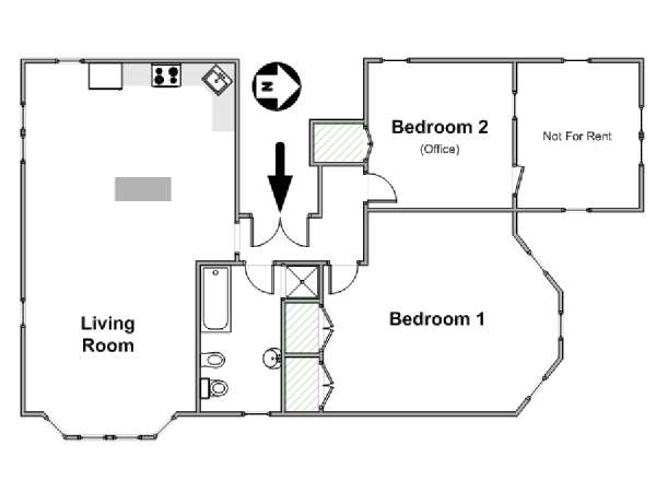 New York 2 Bedroom apartment - apartment layout  (NY-17400)