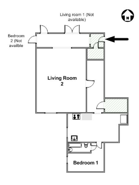 New York 2 Bedroom roommate share apartment - apartment layout  (NY-17452)