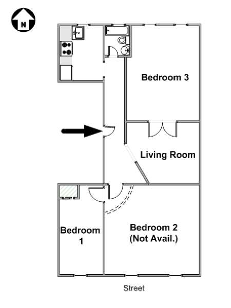New York 3 Bedroom roommate share apartment - apartment layout  (NY-17460)