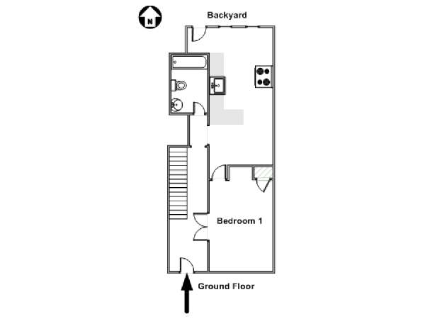 New York T5 - Triplex appartement colocation - plan schématique  (NY-17461)