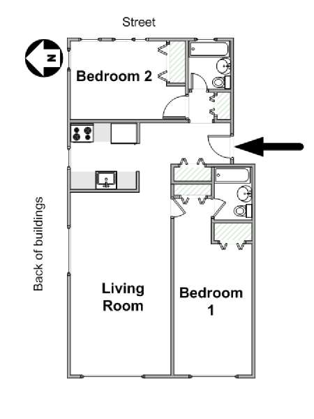 New York T3 logement location appartement - plan schématique  (NY-17465)