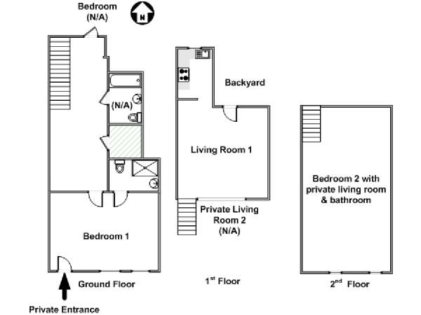 New York T5 appartement colocation - plan schématique  (NY-17505)