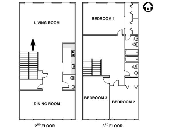 New York 3 Bedroom - Duplex accommodation - apartment layout  (NY-17559)