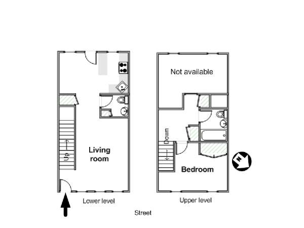 New York 1 Bedroom - Duplex apartment - apartment layout  (NY-17581)