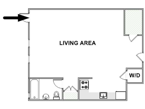 New York Studio T1 logement location appartement - plan schématique  (NY-17587)
