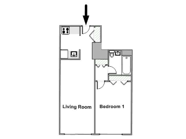 New York T2 logement location appartement - plan schématique  (NY-17595)