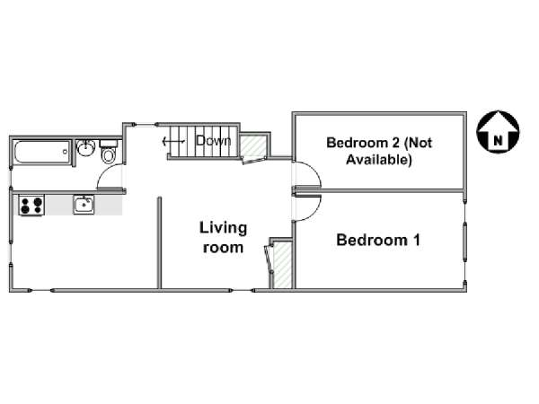 New York T3 appartement colocation - plan schématique  (NY-17600)