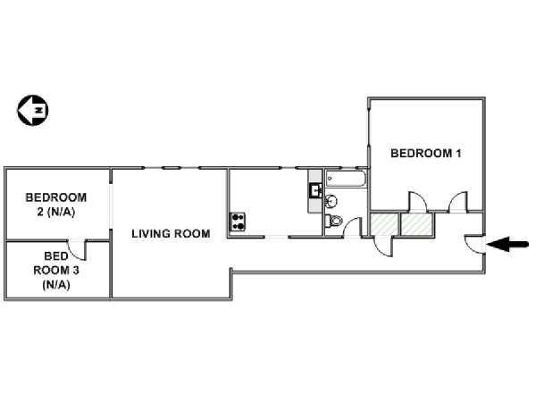 New York T4 appartement colocation - plan schématique  (NY-17601)