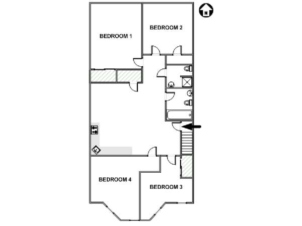 New York 4 Bedroom roommate share apartment - apartment layout  (NY-17603)