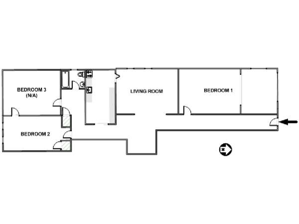 New York T3 appartement colocation - plan schématique  (NY-17611)