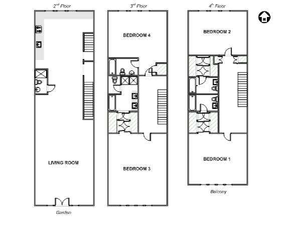 New York T5 - Triplex appartement location vacances - plan schématique  (NY-17637)