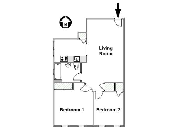 New York 2 Bedroom accommodation - apartment layout  (NY-17647)