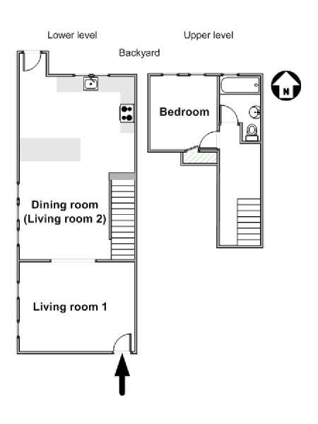 New York 4 Bedroom accommodation bed breakfast - apartment layout  (NY-17649)