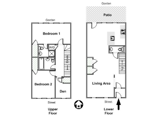 New York 2 Bedroom - Duplex accommodation - apartment layout  (NY-17669)