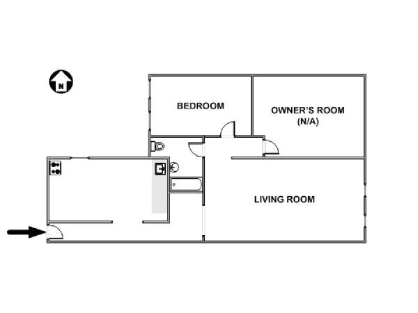New York 2 Bedroom roommate share apartment - apartment layout  (NY-17681)