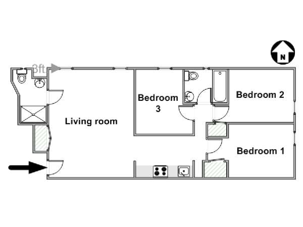 New York 3 Bedroom apartment - apartment layout  (NY-17727)