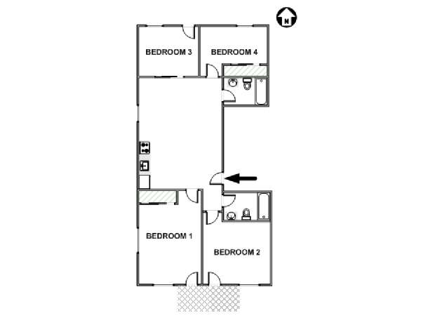 New York 4 Bedroom roommate share apartment - apartment layout  (NY-17742)