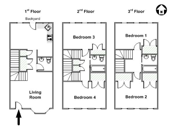 New York 4 Bedroom - Triplex apartment - apartment layout  (NY-17777)