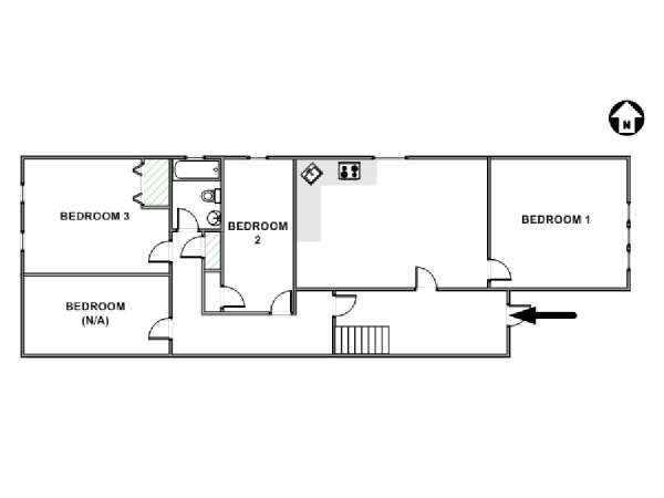 New York 4 Bedroom roommate share apartment - apartment layout  (NY-17804)