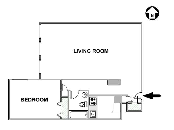 New York 1 Bedroom roommate share apartment - apartment layout  (NY-17811)