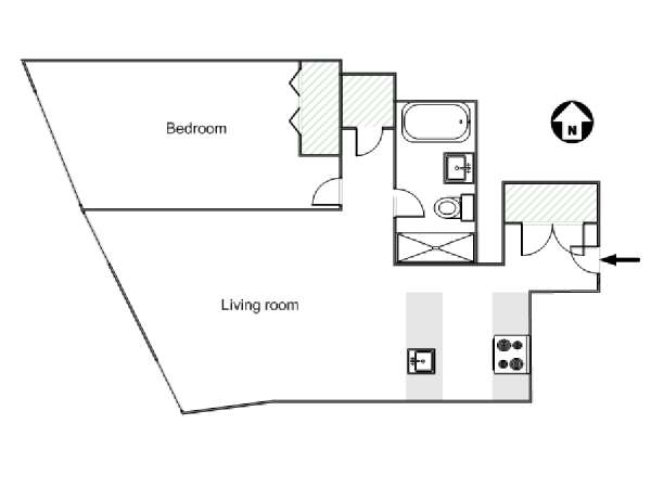 New York 1 Bedroom apartment - apartment layout  (NY-17868)