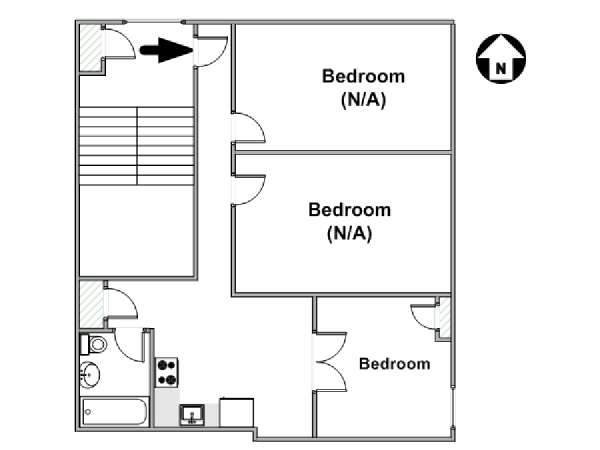 New York T4 appartement colocation - plan schématique  (NY-17901)