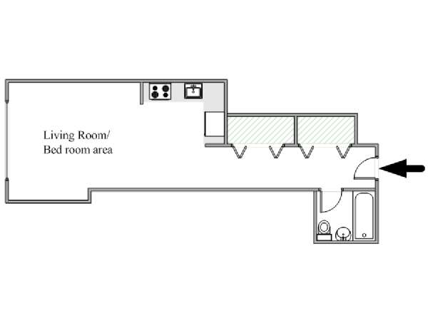 New York Studio T1 logement location appartement - plan schématique  (NY-17941)