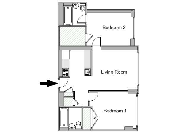 New York 2 Bedroom apartment - apartment layout  (NY-17947)