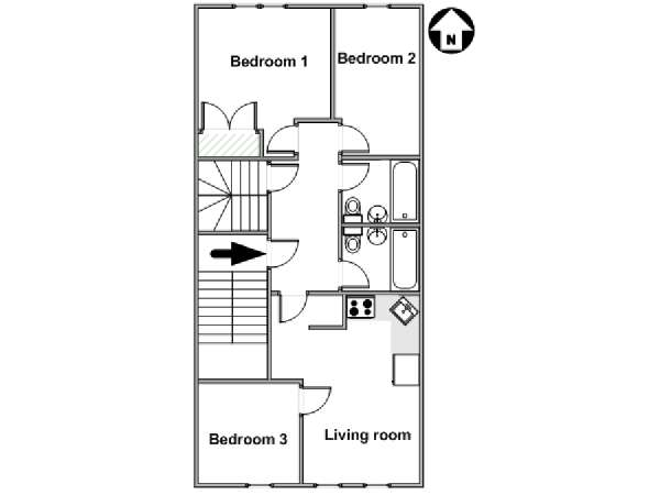 New York 3 Bedroom apartment - apartment layout  (NY-17948)