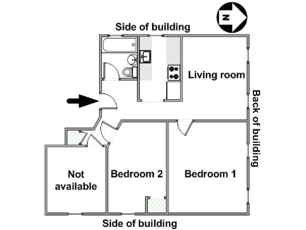 New York 3 Bedroom roommate share apartment - apartment layout  (NY-17956)