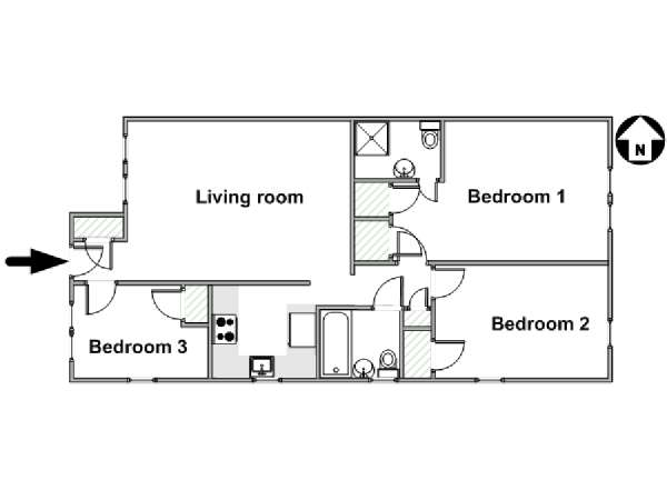 New York 3 Bedroom apartment - apartment layout  (NY-17962)