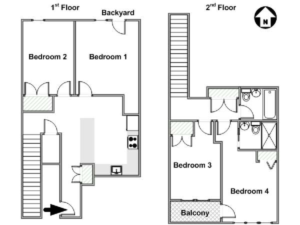 New York T5 - Duplex appartement colocation - plan schématique  (NY-17967)