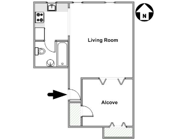 New York Alcove Studio apartment - apartment layout  (NY-17988)