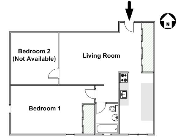 New York T3 appartement colocation - plan schématique  (NY-17996)