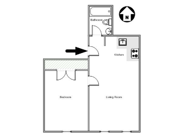 New York 1 Bedroom apartment - apartment layout  (NY-17997)