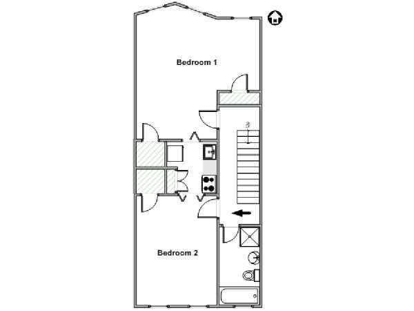 New York 2 Bedroom apartment - apartment layout  (NY-18038)